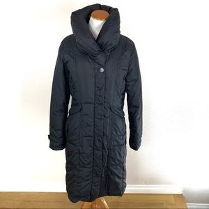 Cole Haan Black Puffer Funnel Collar Long Coat